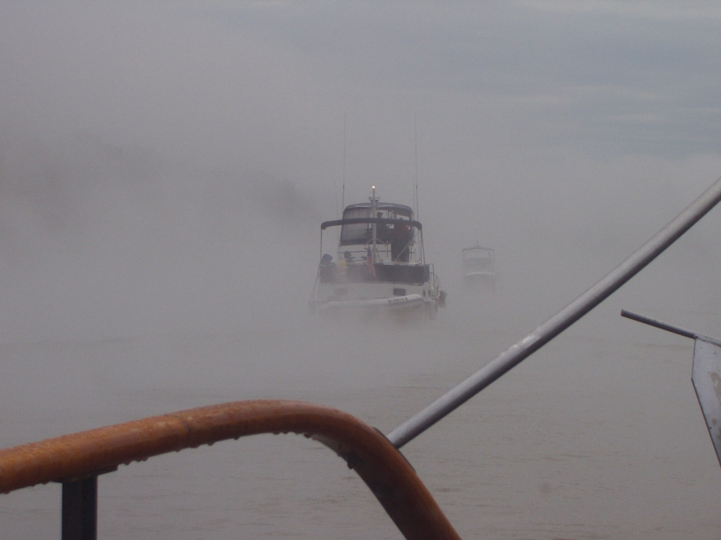 Thick fog leaving Coffeeville Lock