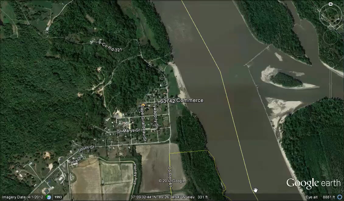 Commerce, MO by Google Earth