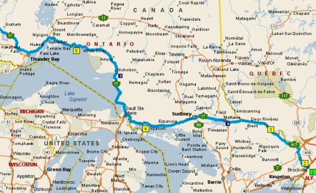 Map 1 Brockville to Thunder Bay Great Loop Cruising