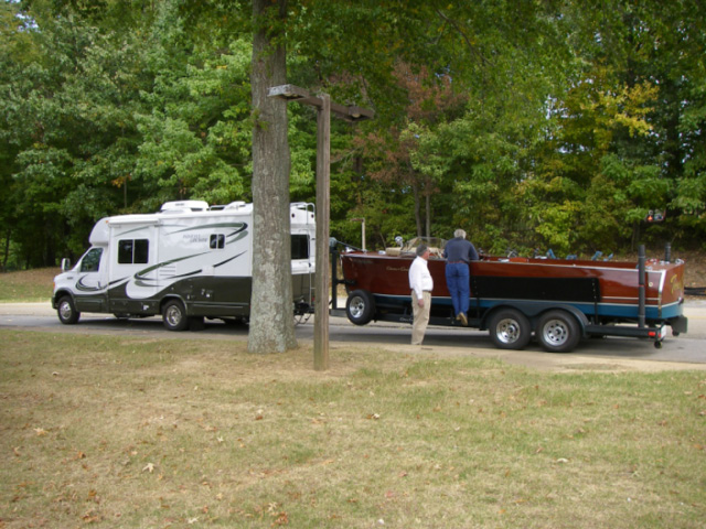 Chris Craft being towed by an RV